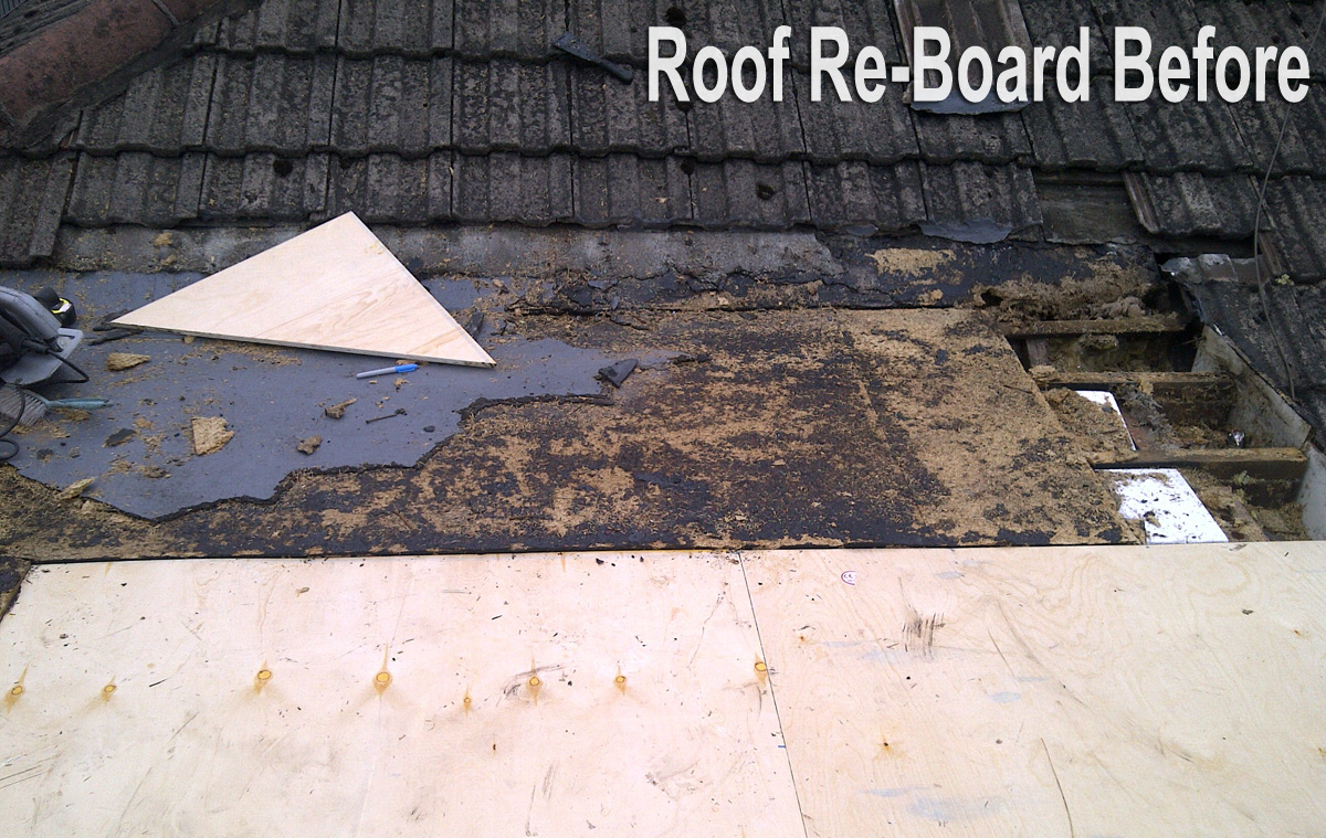 Roof Re-Board Before